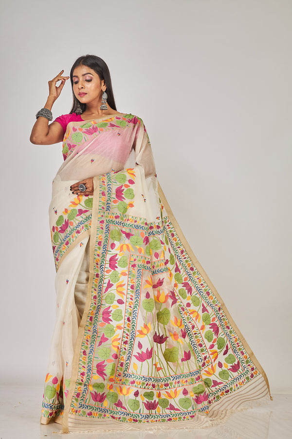 BEIGE TULIP AND LOTUS  FLORAL SILK JAMDANI (ILJ-133 )