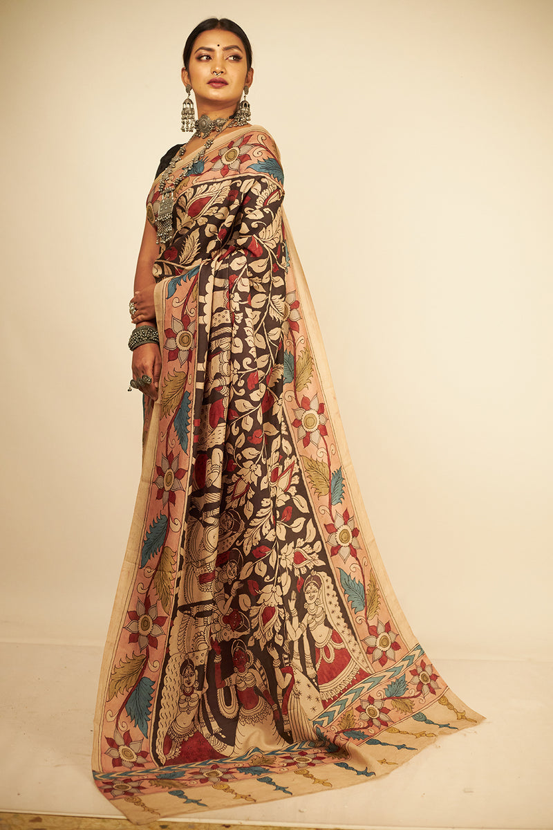 Exclusive World Renowned Ajanta Paintings All Over Florals On Mulberry Silk(ILK-117)