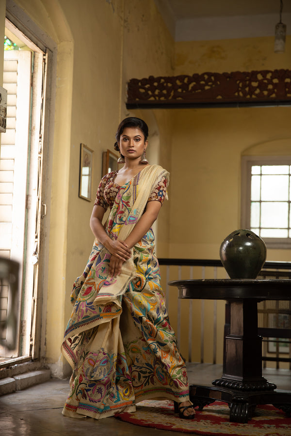 Kantha Saree - Stitched With Patterns In 22 Shades (IL-432)