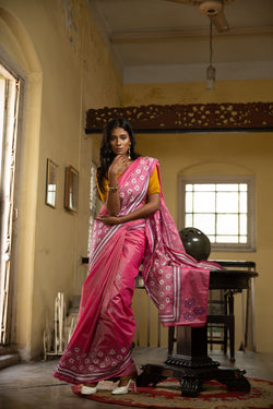 Kantha Saree In Pink With Floral Motifs (IL-433)