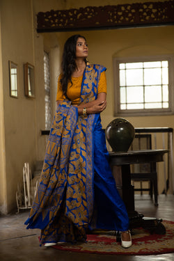 Cobalt Blue Kantha Hand Embroidery  Saree (IL-508 )