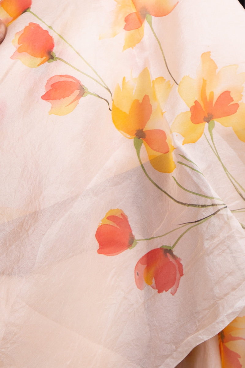 Pink Pastel Floral Handpainted in Red and Orange