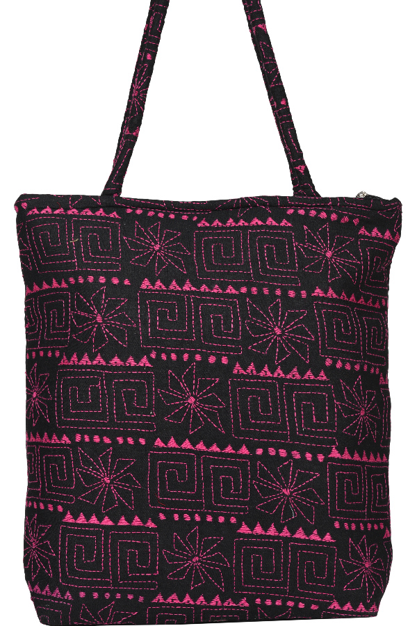 Hand Embroidery on Black in Pink Kutch Work