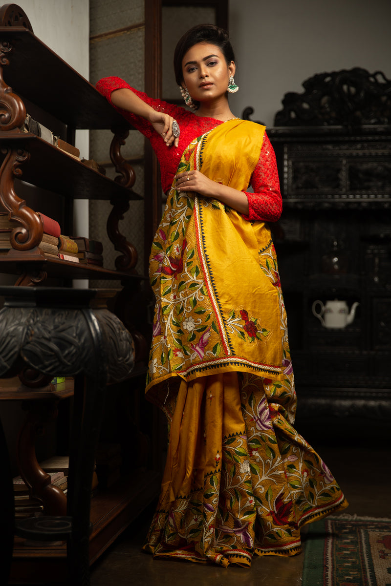 Handmade Bangalore Silk Saree In Yellow Stitched With Kantha Work (IL-466)