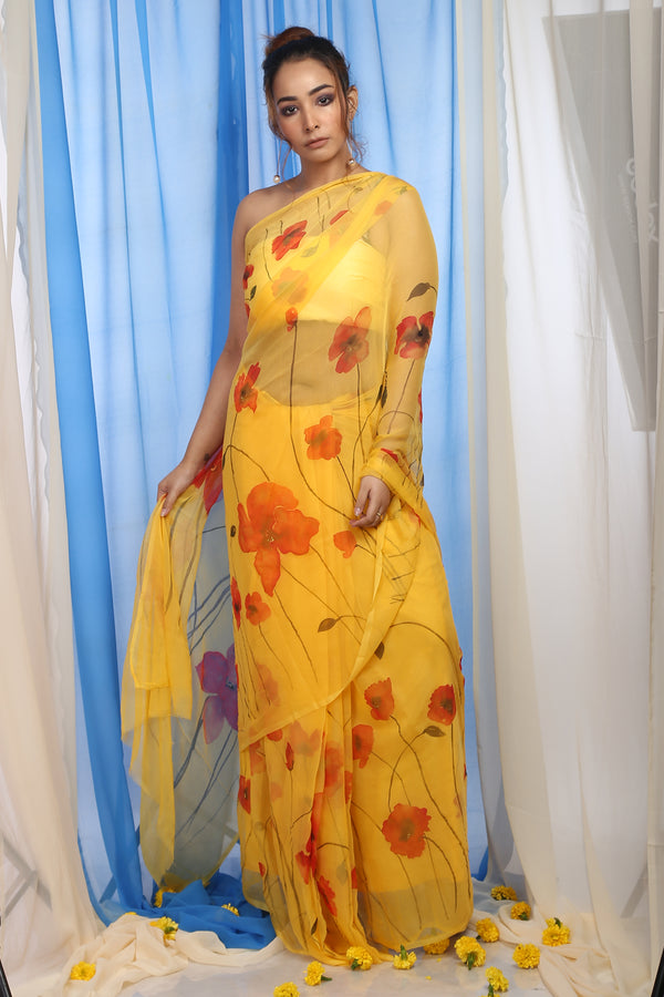 Floral Garden On Saffron Yellow Organza Saree