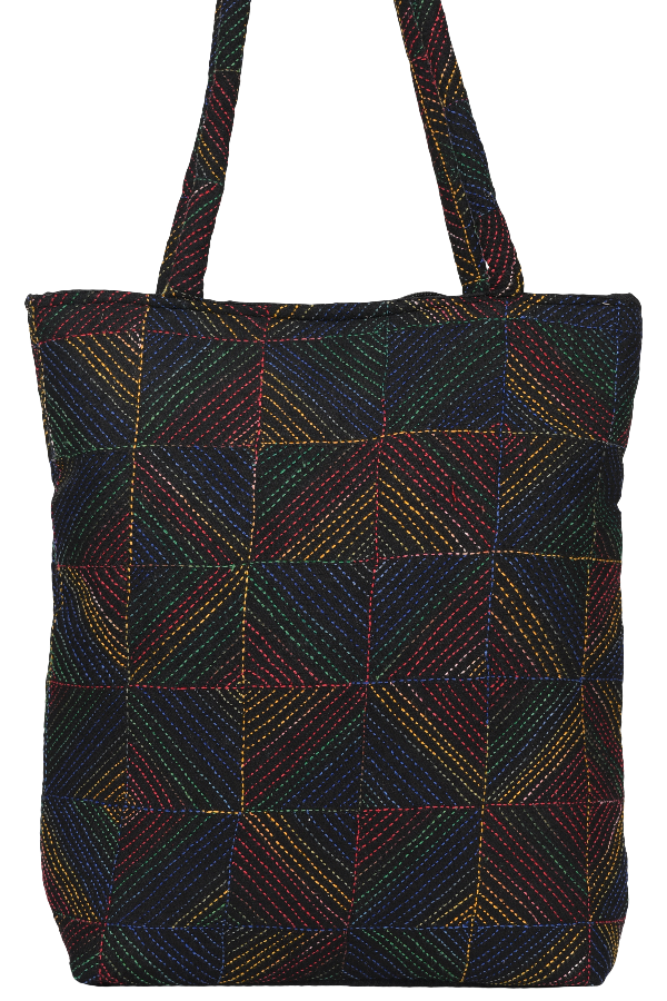Kantha Embroidery Multicolored Geometric Pattern