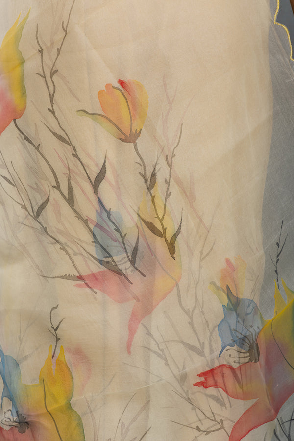 Birds of Paradise Flower Handpainted on  Organza