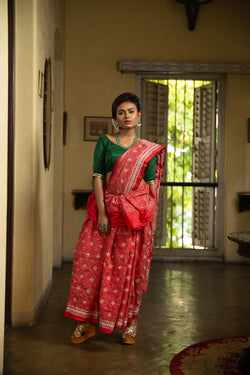 Hand-Stitched Kantha Saree In Red With White Minute Stitches (IL-454)