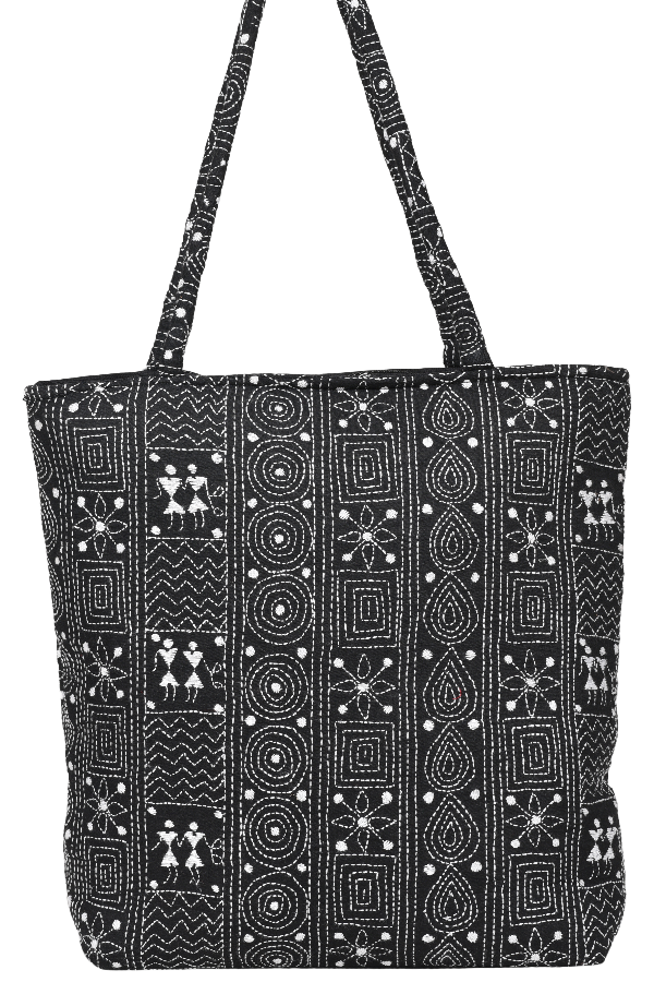 Embroidery Handbag In Black and White
