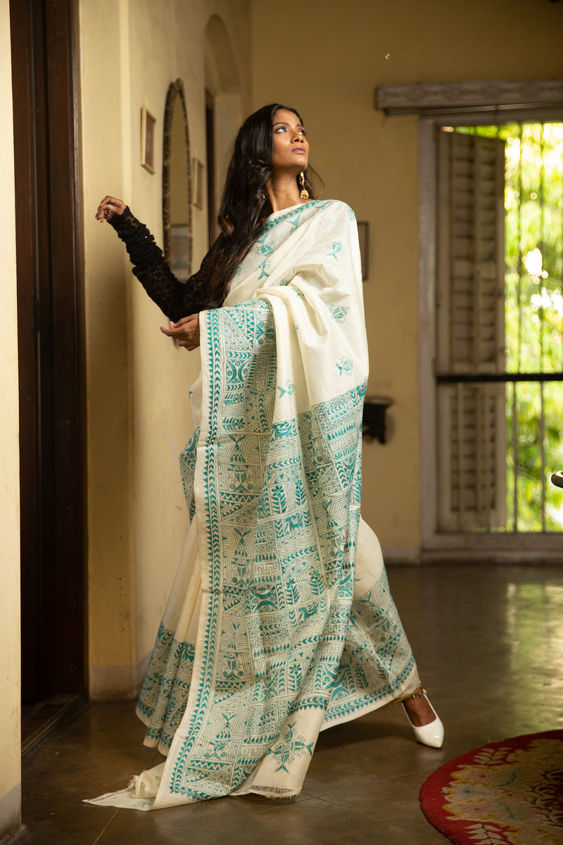 Kantha Stitched Saree With Small Fish Motifs (IL-449)