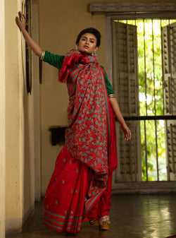Handmade Bangalore Silk Saree In Rust Red Stitched With Blue Threads (IL-452)