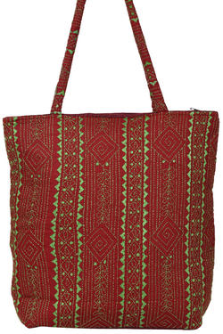 Embroidery Red Hand Bag Lime Green Kutch Work