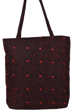 Hand Embroidery Kantha Hand Bag in Burgundy and Red