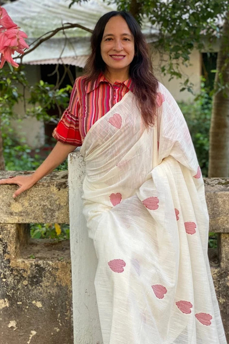 Pure Linen Handloom Saree In White with Heart Motifs
