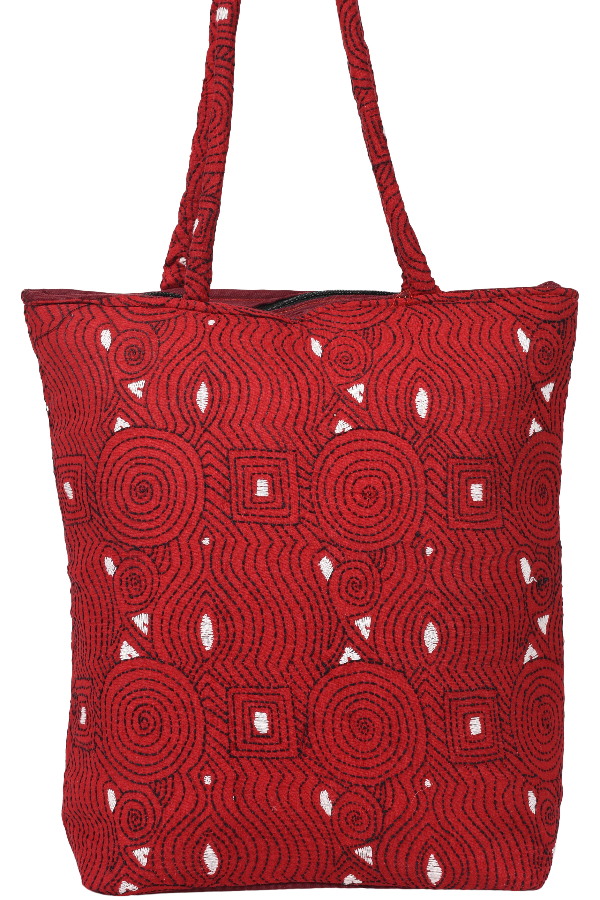 Hand Embroidery Kantha Hand Bag in Red and White