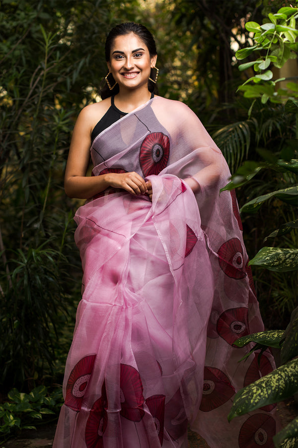 The Obstract Poppy Florals Handpainted Saree
