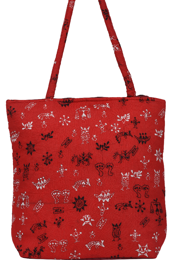 Kantha Hand Bag in Red Body Color, White and Black Motifs
