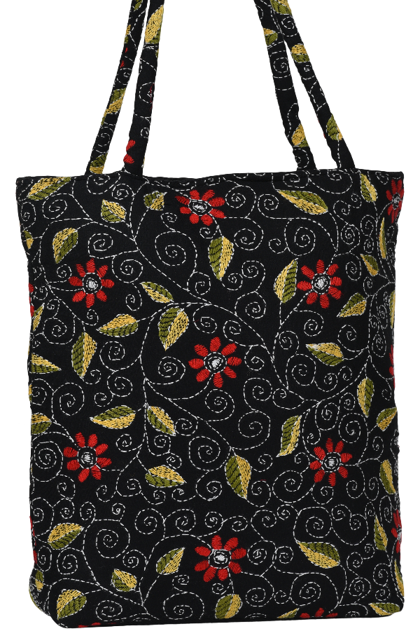 Kantha Embroidery Hand Bag in Multi Color Florals