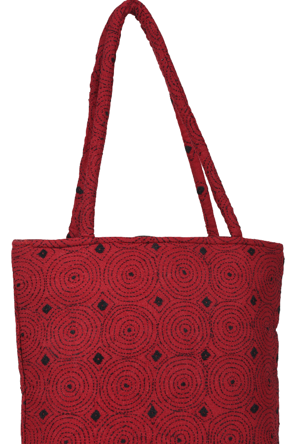 Kantha Hand Bag in Red and Black Dots