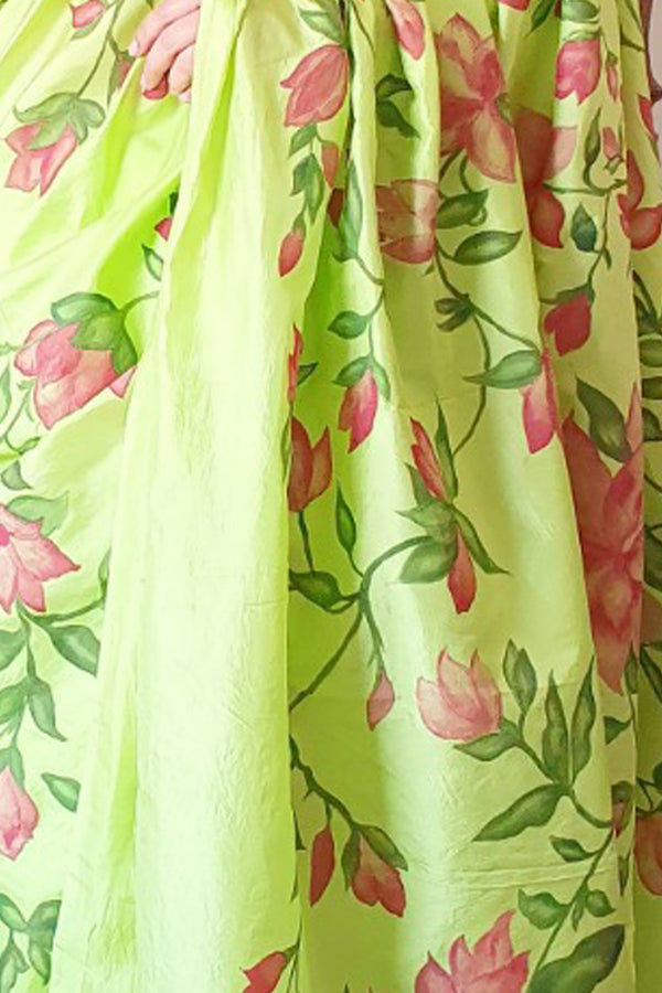 Lime Green  Handpainted Florals On Pure Bangalore Silk