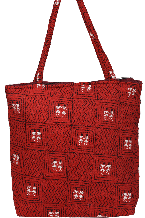 Kantha Embroidery Hand Bag In Red, White