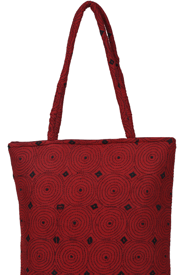 Embroidery Hand Bag in Red and Black