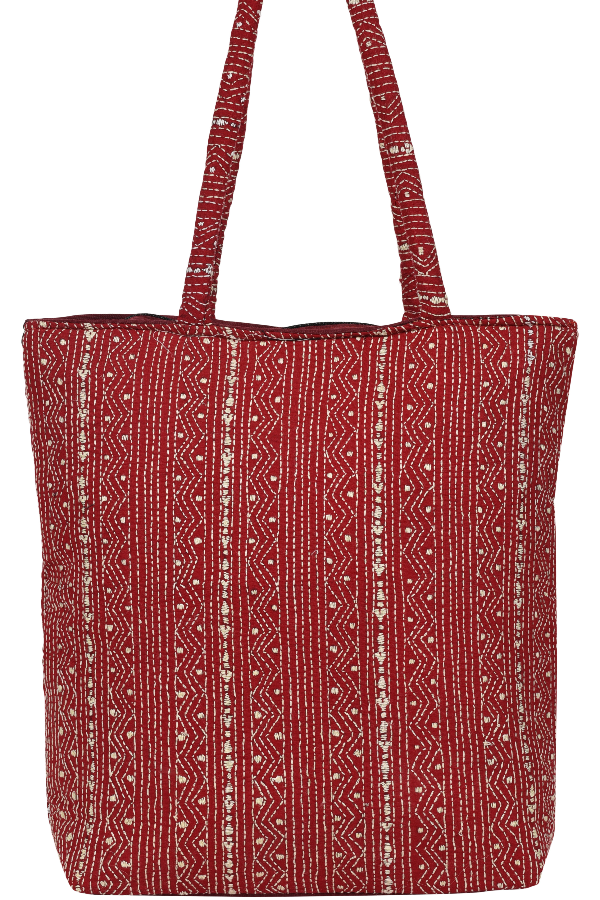Kantha Embroidery Hand Bag Red and White stich