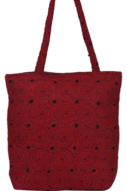 Kantha Embroidery Hand Bags red with black