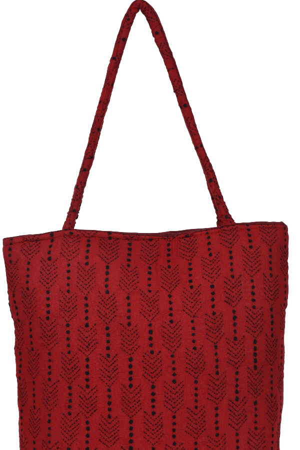 Kantha Embroidery Hand Bag Red and Black Linears