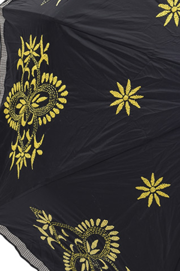Black and Lime Yellow Nakshi Kantha
