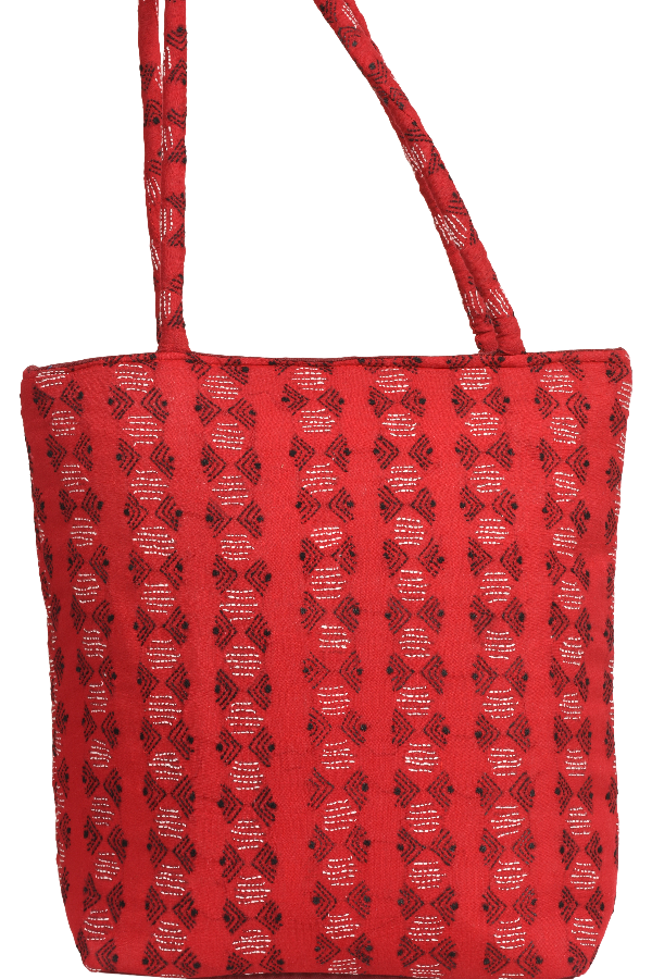 Kantha Embroidery Hand Bags with red colour