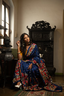 Midnight Blue Nakshi Kantha Stitched With Floral designs (IL-420)