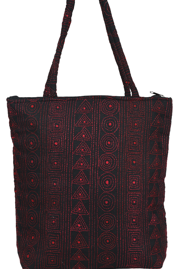 Kantha Embroidery Hand Black and red Stich