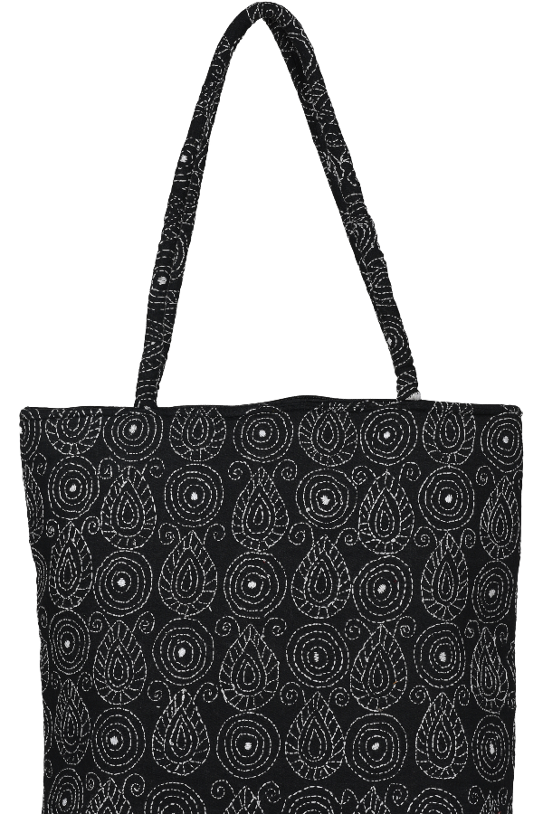 Embroidery Kantha Hand Bag In Black and White