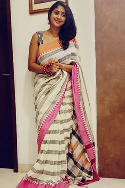 Handloom Cotton Saree With Temple Border