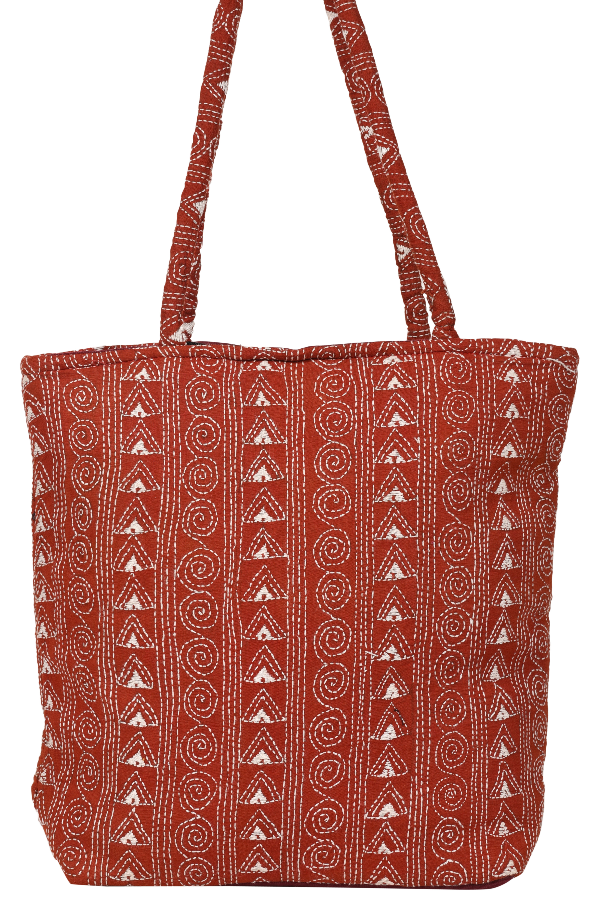 Kantha Hand Bag in Red and White