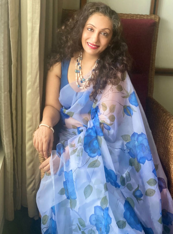 Blue Colour Florals on Organza Saree