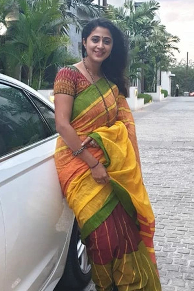 Multi Color Handloom Cotton Saree in Yellow Green