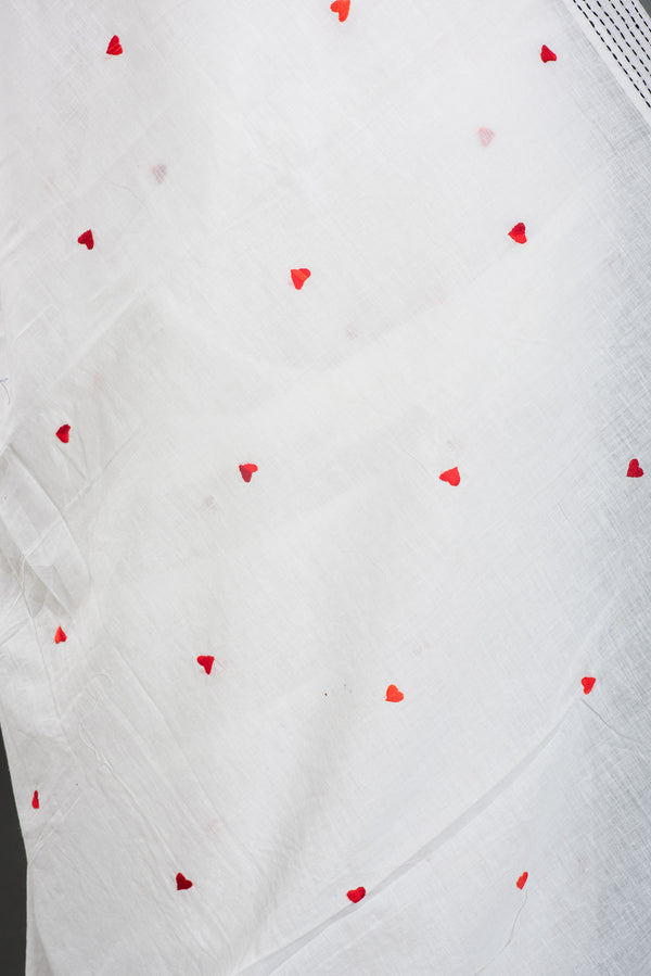 Mul Cotton Jamdani Saree with Love Motifs and Kantha Stitches