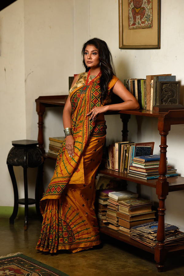 Gujrati Stitched Kantha Saree In Golden Yellow (IL-405)