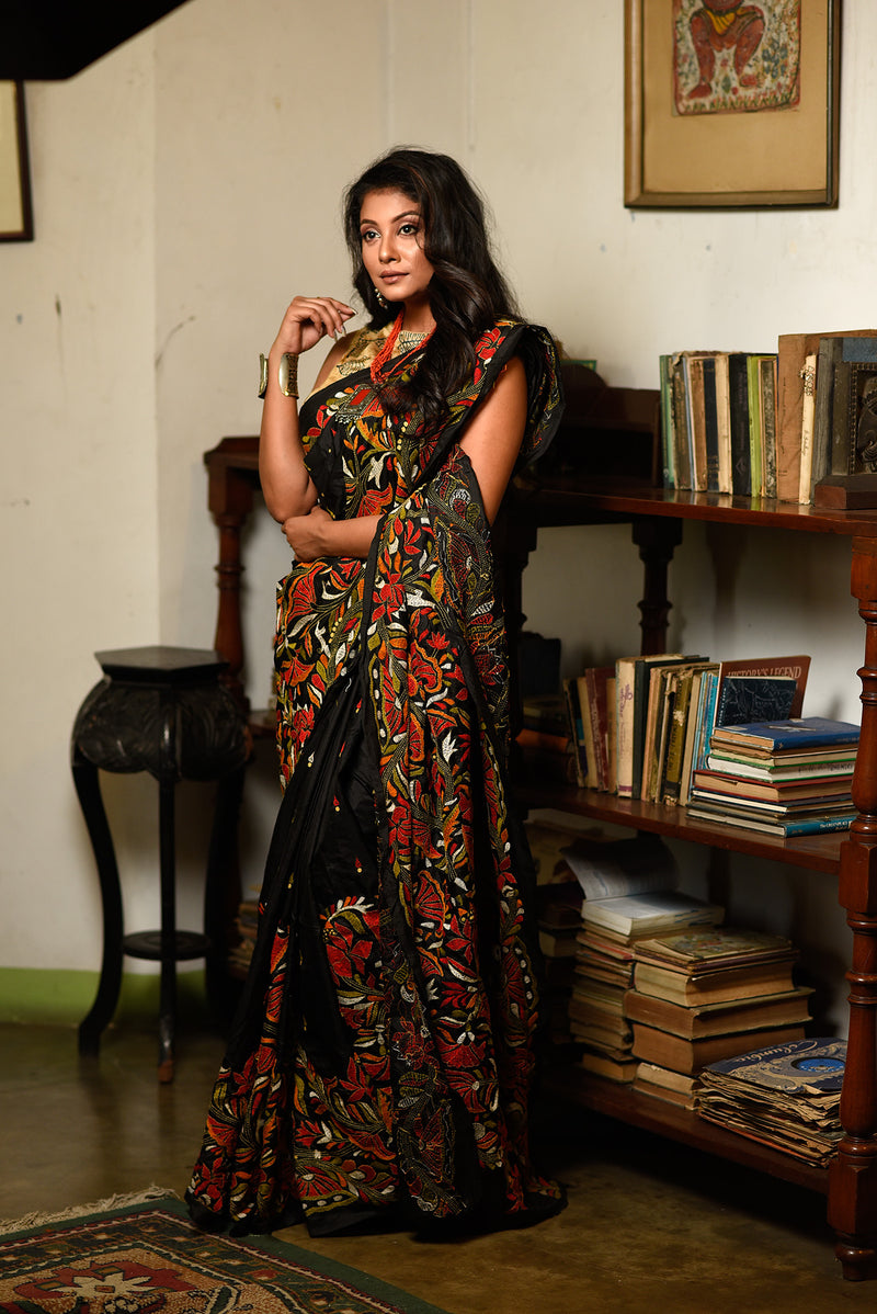 Black Saree Stitched With Kantha Work (IL-408)