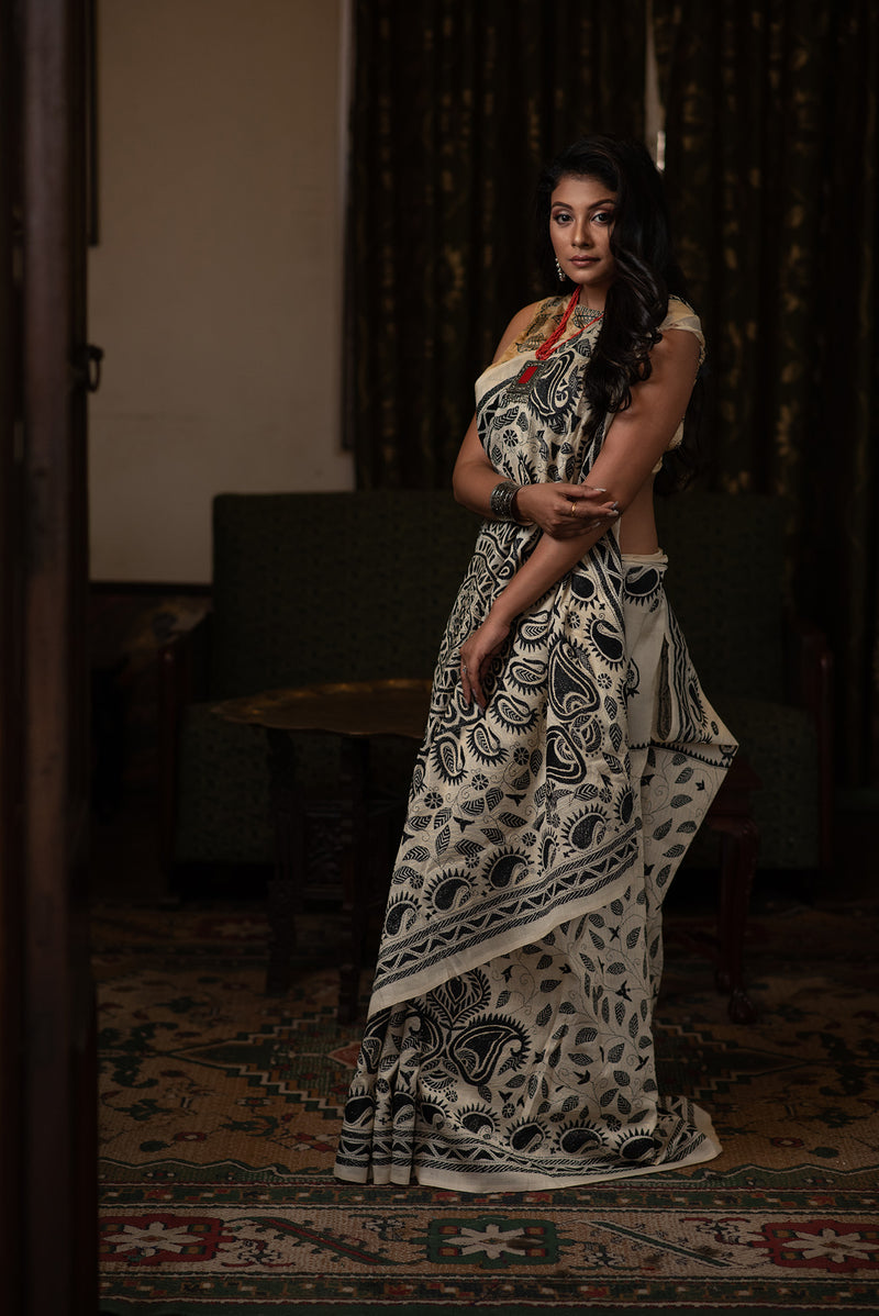 Off-White Stitched Kantha With Tussar Silk(IL-409)