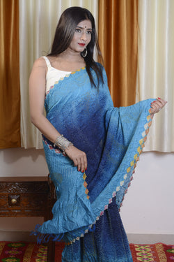 Munga Silk Sulti Color Bandhej Saree in Blue