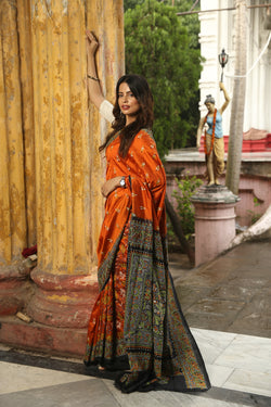 Orange Black Nakshi Kantha Hand Embroidery Saree (IL-501 )