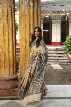 Beige and Black  Kantha Hand Embroidery Saree
