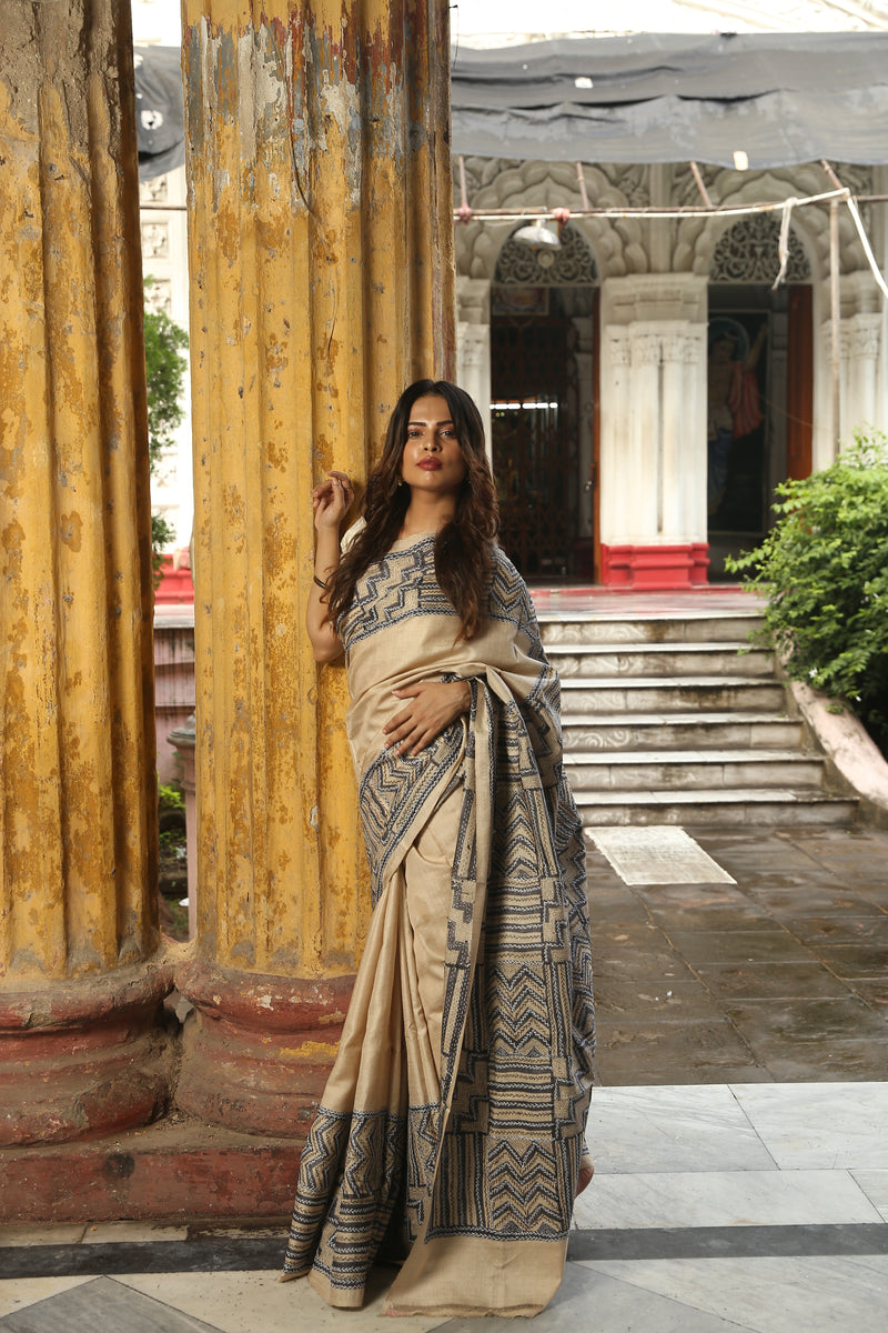 Beige and Black  Kantha Hand Embroidery Saree (IL-513 )