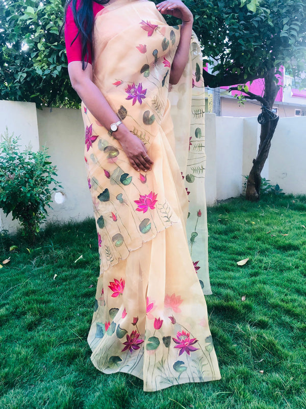 MultiColour Lotus Florals On Organza Saree