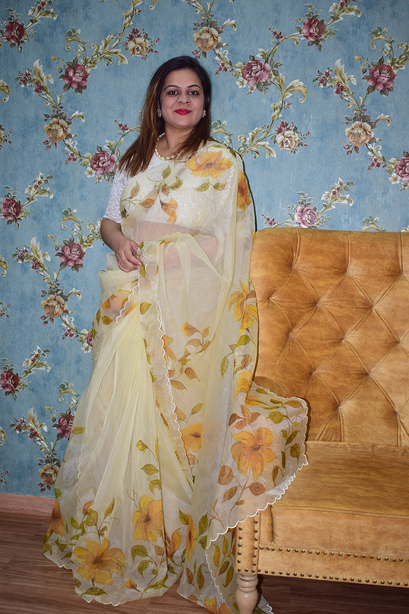 FLOWER AND MULTICOLOUR FLORALS ON BEIGE WHITE ORGANZA SAREE
