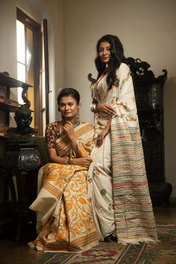 Khesh Styled Cotton Saree With Kantha Stitches (IL-416)