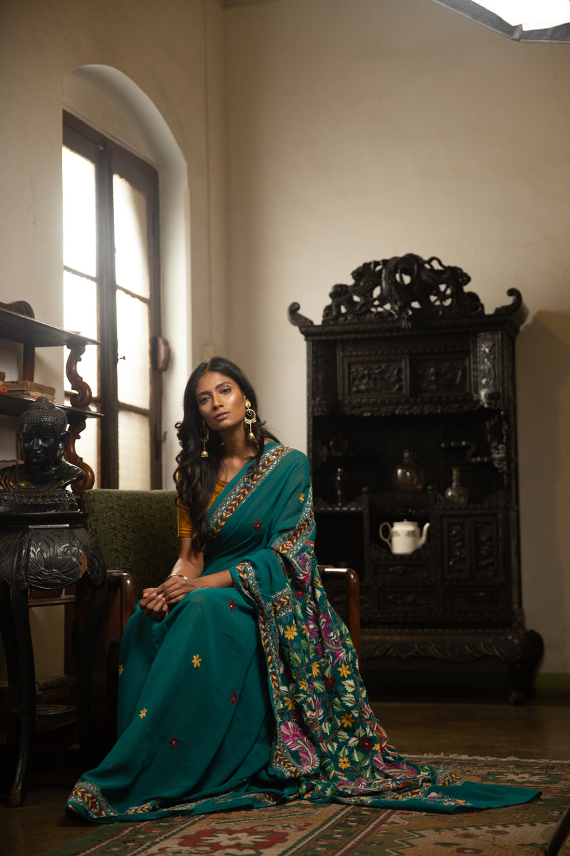 Teal Blue Hand-Crafted Bangalore Silk Saree Stitched With Kantha Work (IL-422)